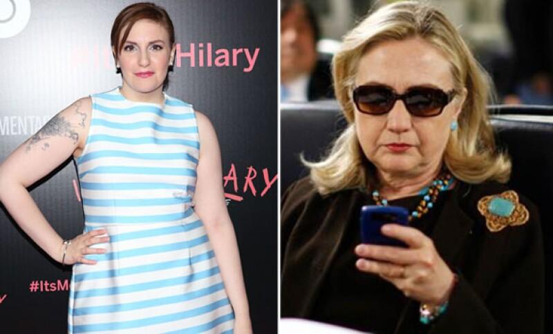 Lena Dunham publicó esta imagen de Hillary en su cuenta de Instagram.