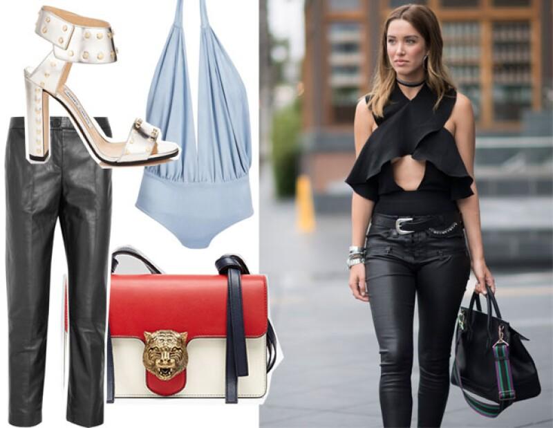 Si tu personalidad es atrevida, este look es para ti. Bodysuit: Marika Vera, Bolsa: Gucci, Zapatos: Jimmy Choo (Gran Vía), Pantalones de piel: Topshop Unique.