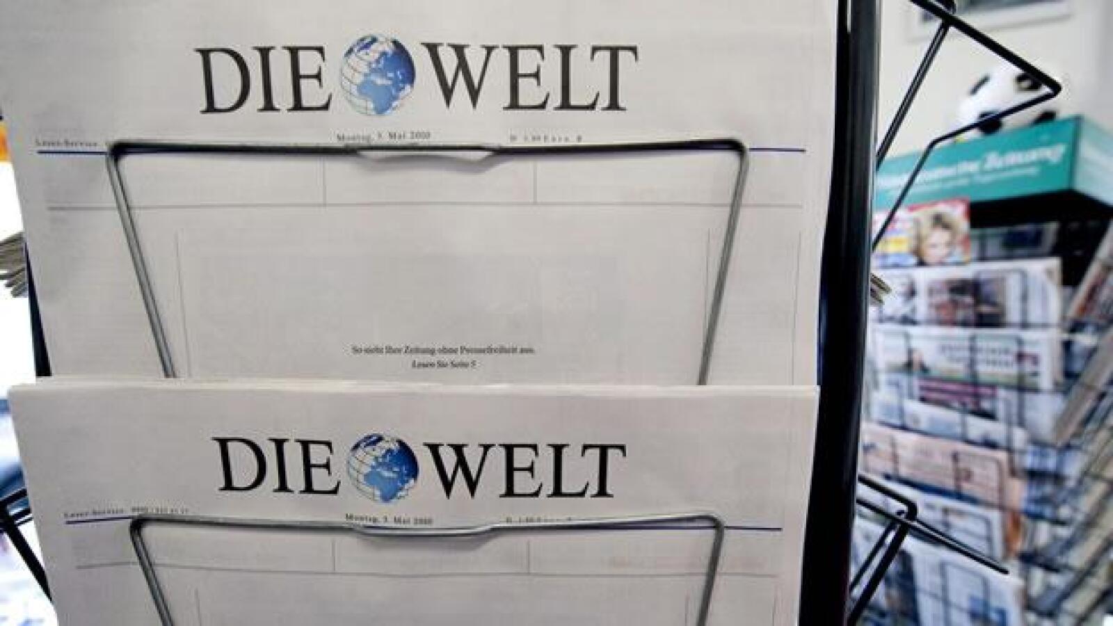 """El titular del diario alemán Die Welt decía """"así se vería tu periódico sin libertad de expresión"""""""