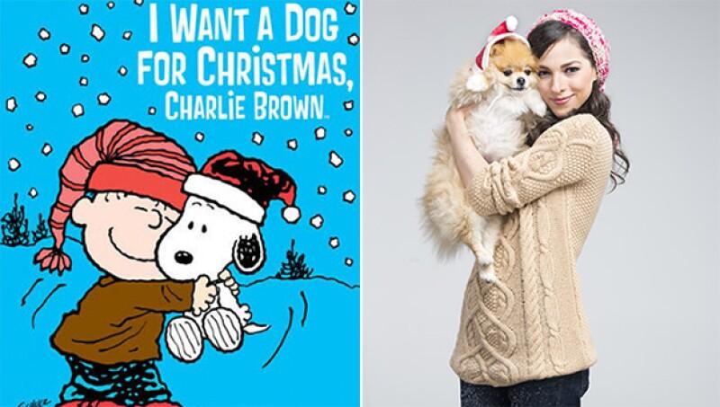 Paty Cantú y su perrito recrearon un poster navideño de Snoopy y aprovechó para contarnos sobre sus navidades internacionales y cómo es que escribió un villancico para cortarse las venas.