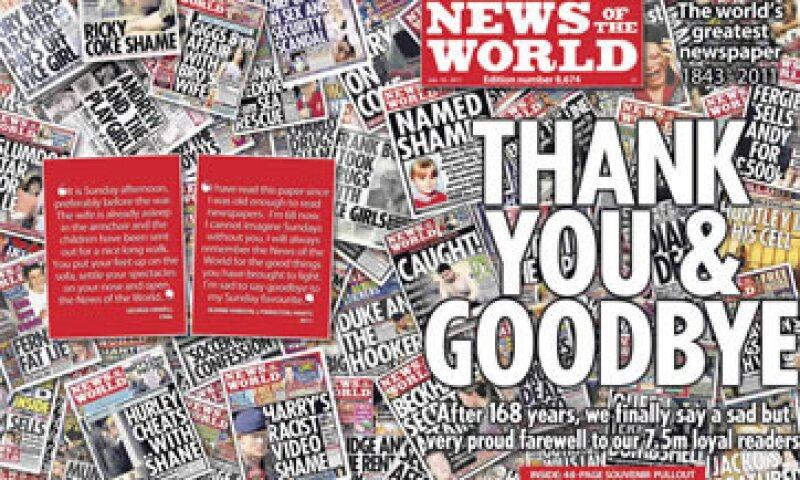 Tras 168 años de existencia, en julio la empresa de Rupert Murdoch decide cerrar la publicación involucrada en un escándalo de espionaje telefónico. (Foto: Reuters)