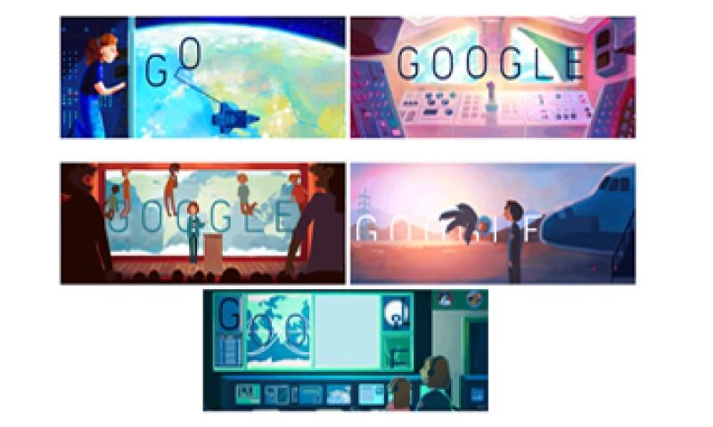Estos son los cinco doodles dedicados a la astronauta de EU. (Foto: Google.com)