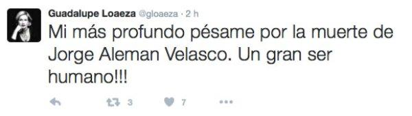 La periodista también lamentó la pérdida de Jorge Alemán Velasco.