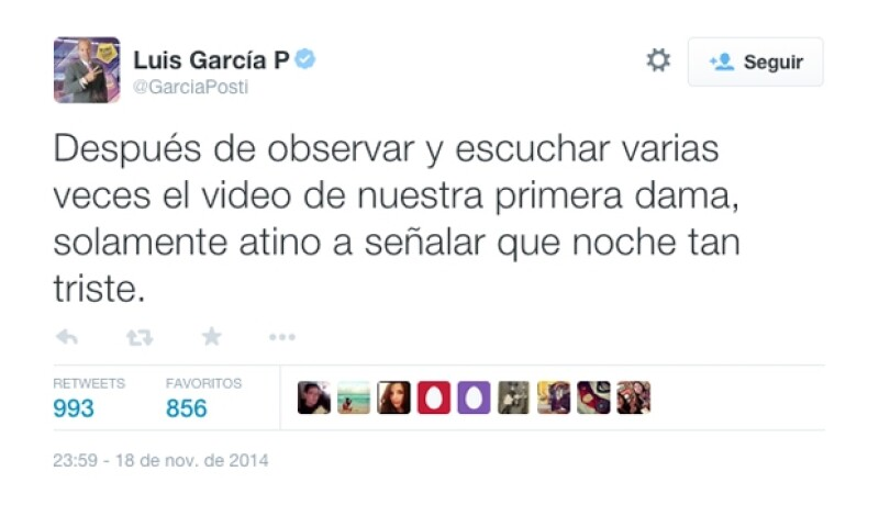 El comentarista deportivo, Luis García, se mostró decepcionado de la situación.