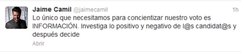 El actor mexicano invitó a todos sus seguidores en Twitter a informarse antes de decidir votar por alguno de los candidatos.
