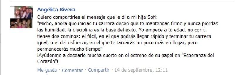 Este fue el mensaje que compartió Angélica Rivera con sus seguidores de facebook, para desearle suerte a su hija.