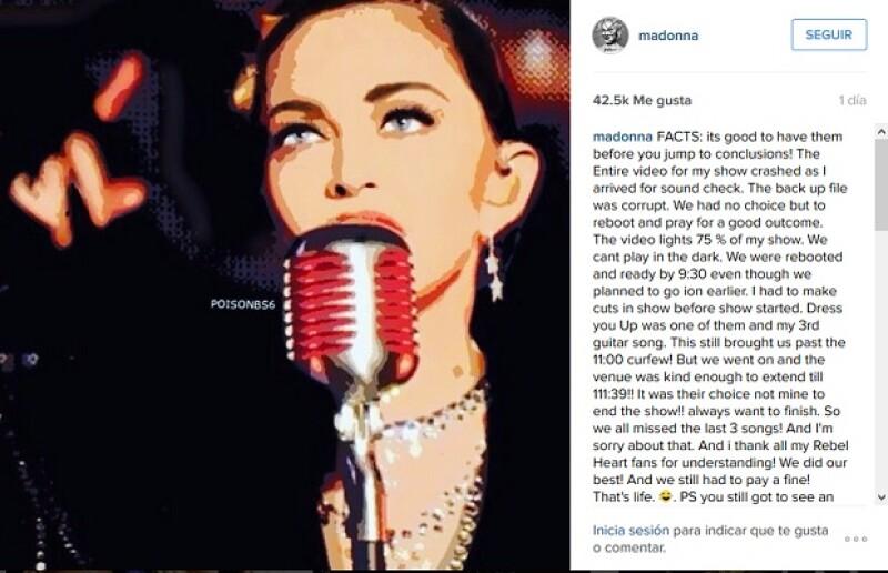Esta fue la explicación que la reina del pop publicó en su cuenta de Instagram.