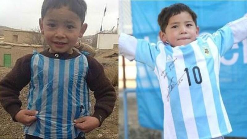 El pequeño, que captó la atención del mundo entero por portar una playera de futbol creada con una bolsa de plástico, ha recibido un gran regalo.
