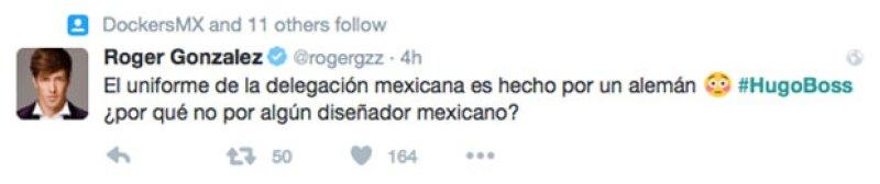 Roger González también comentó sobre la elección de diseñador para los uniformes.