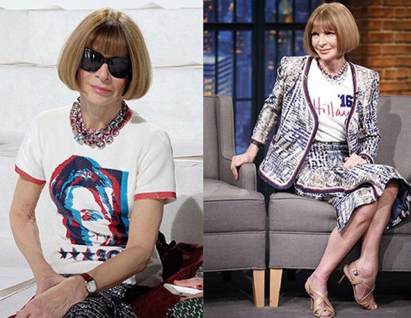 Anna Wintour complementó la camiseta de campaña de Hillary con un traje Chanel.