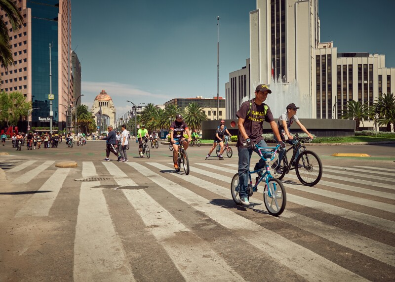 Bicycle riding in the business district of Mexico City, Mexico.