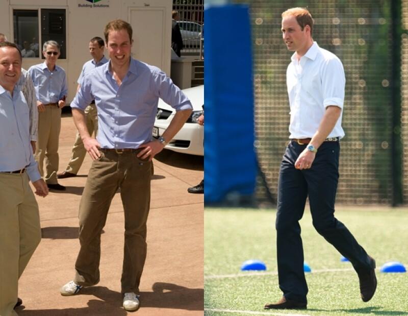 El príncipe Guillermo en 2010 y en 2012. Ahora se le ha visto utilizando zapatos de gamuza, sin dejar a un lado su estilo tradicional.