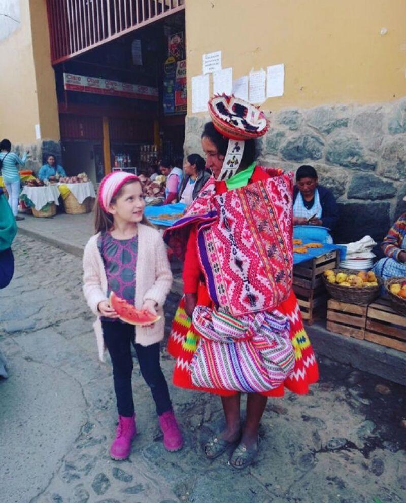 Las pequeñas hijas de la actriz y Gabriel Soto conocieron la cultura peruana.