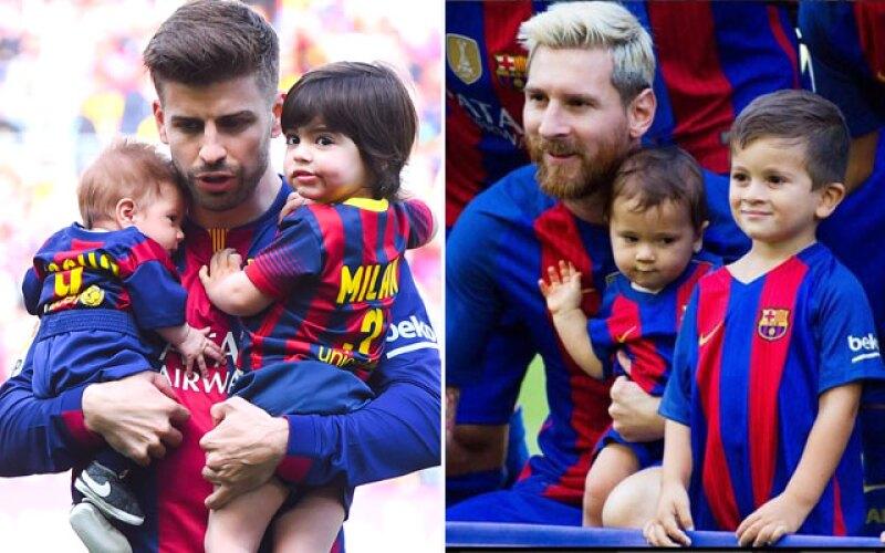 Gerard Piqué junto a sus hijos Milan y Sasha.