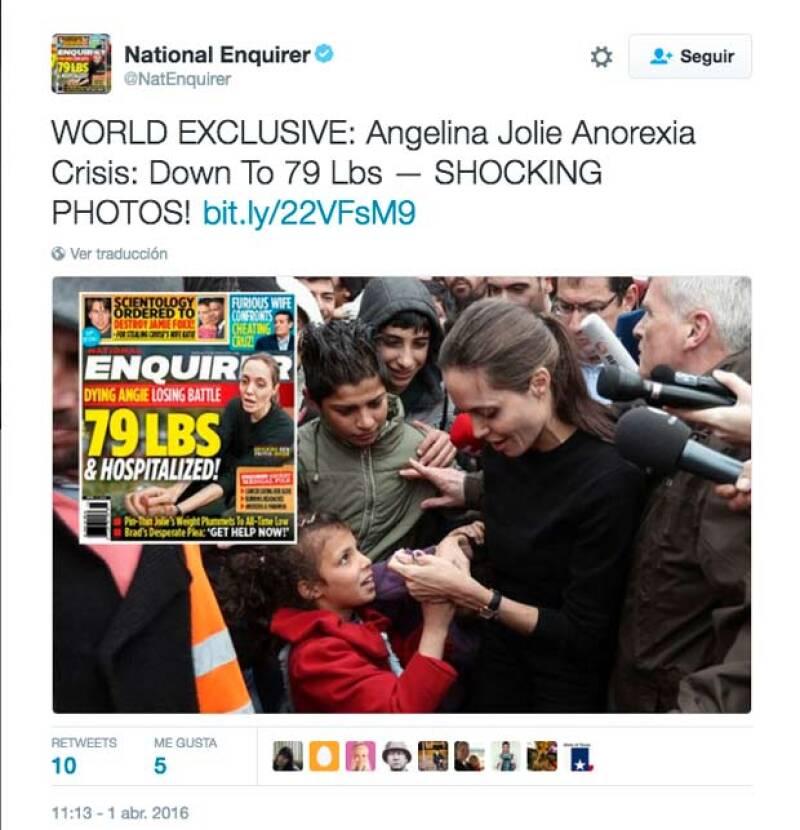 Hace un mes The National Enquirer publicó una portada en la que aseguraba que Angelina tenía cáncer y anorexia.