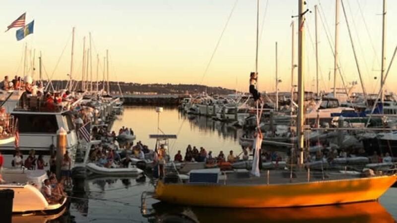 espectaculo de cuerdas en un velero