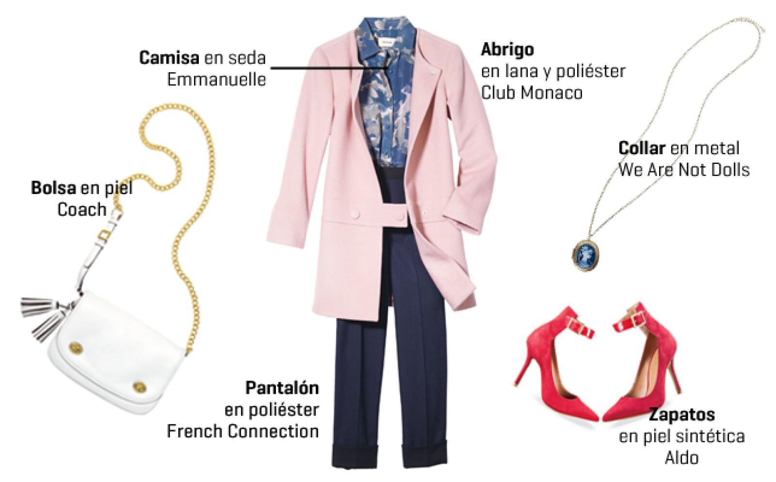 Si te gusta innovar con tu guardarropa, entonces prueba con un abrigo de corte simple, en tono palo de rosa. Úsalo con pantalón y blusa en color oscuro para lucir elegante. Complementa con accesorios en colores llamativos.