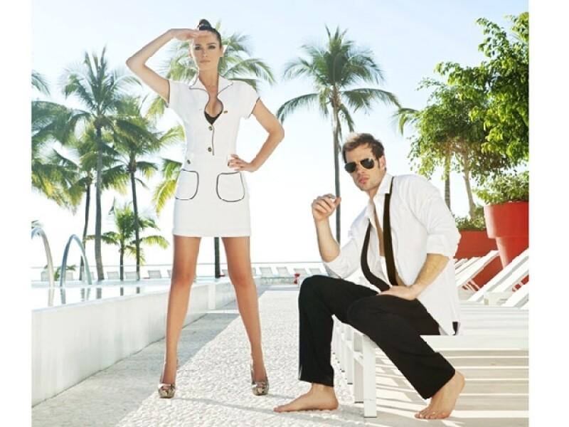El actor cubano y la guapa española usaron las creaciones de la firma y posaron juntos para este shooting mientras disfrutaron una tarde soleada en Vallarta.