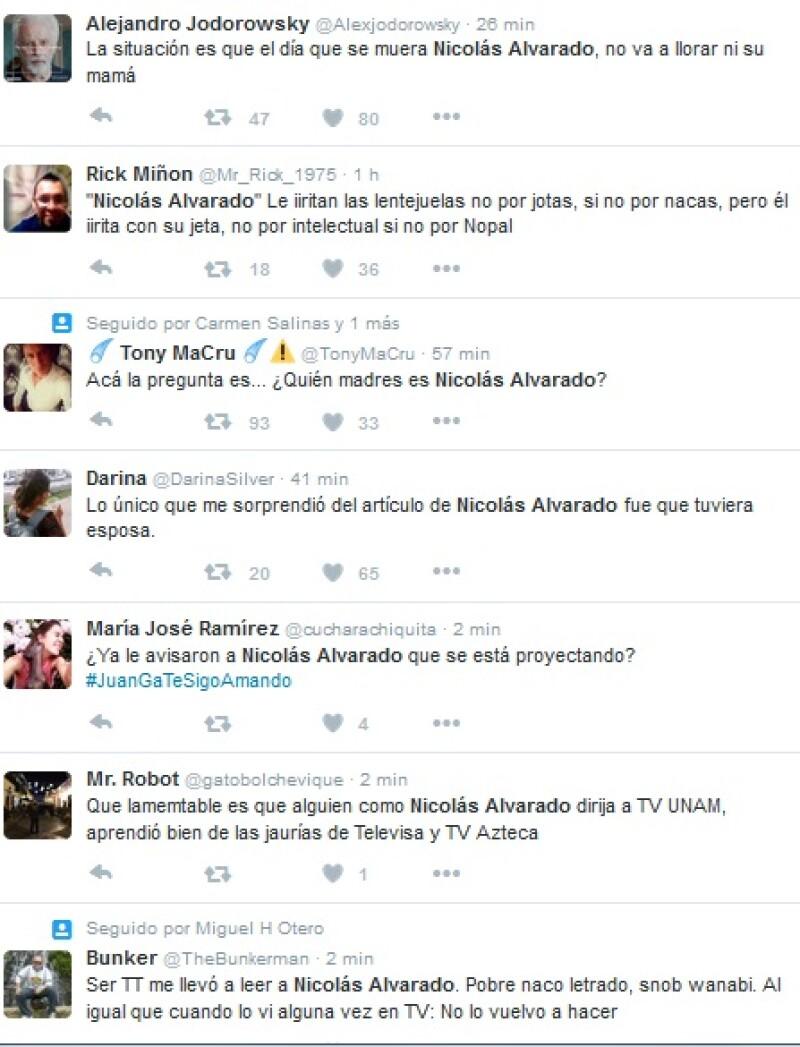 Estas fueron algunas de las reacciones en redes sociales ante la columna de Nicolás Alvarado.