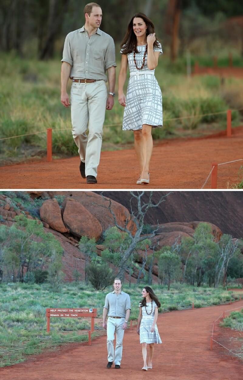 Guillermo y Kate caminando por el Parque Nacional Uluru-Kata Tjuta.