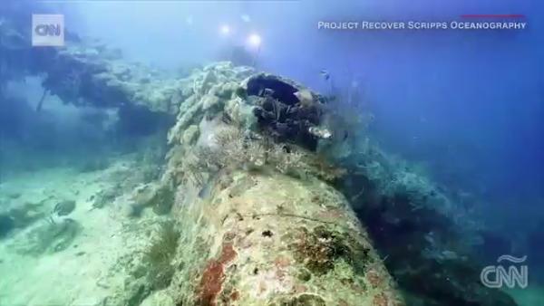 Así lucen los restos de un buque hundido en la Segunda Guerra Mundial