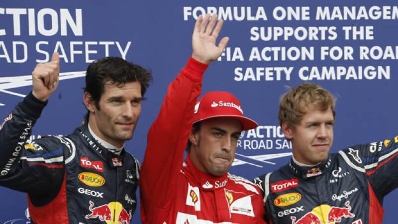 Webber Alonso y Vettel