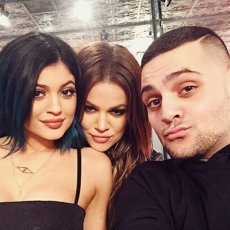 Michael Costello y las hermanas Kardashian: Kylie, Khloé.