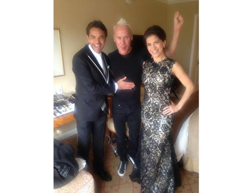 Eugenio Derbez, Alfonso Waithsman y Alessandra Rosaldo minutos antes de acudir a los Golden Globes.