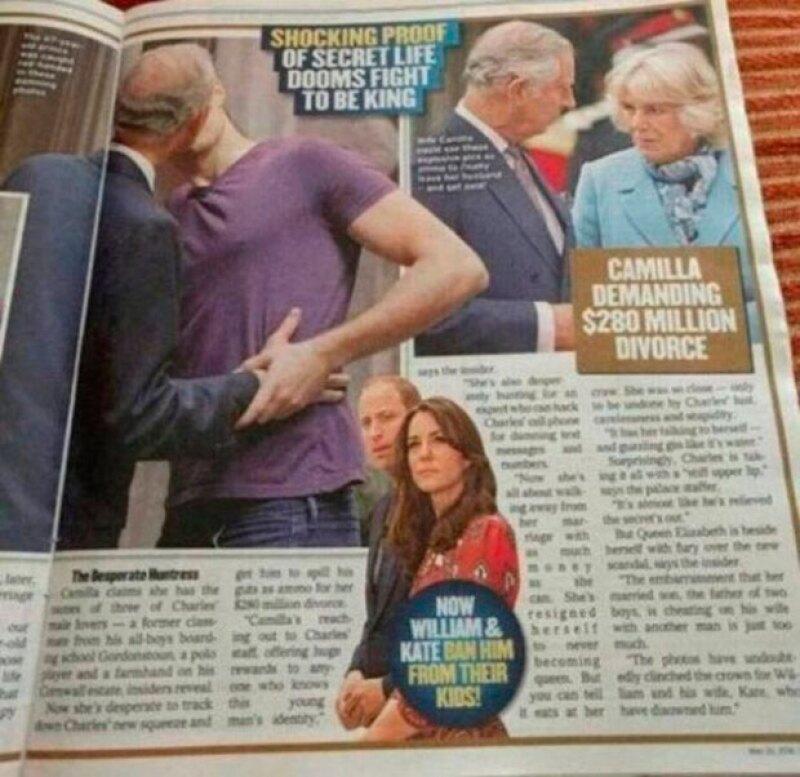 De acuerdo con el tabloide, es el príncipe Carlos el hombre que se ve en la imagen en actitud cariñosa con un joven.