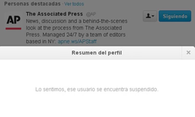 La cuenta de AP en Twitter fue suspendida por un breve lapso tras la publicación del tuit. (Foto: Especial)