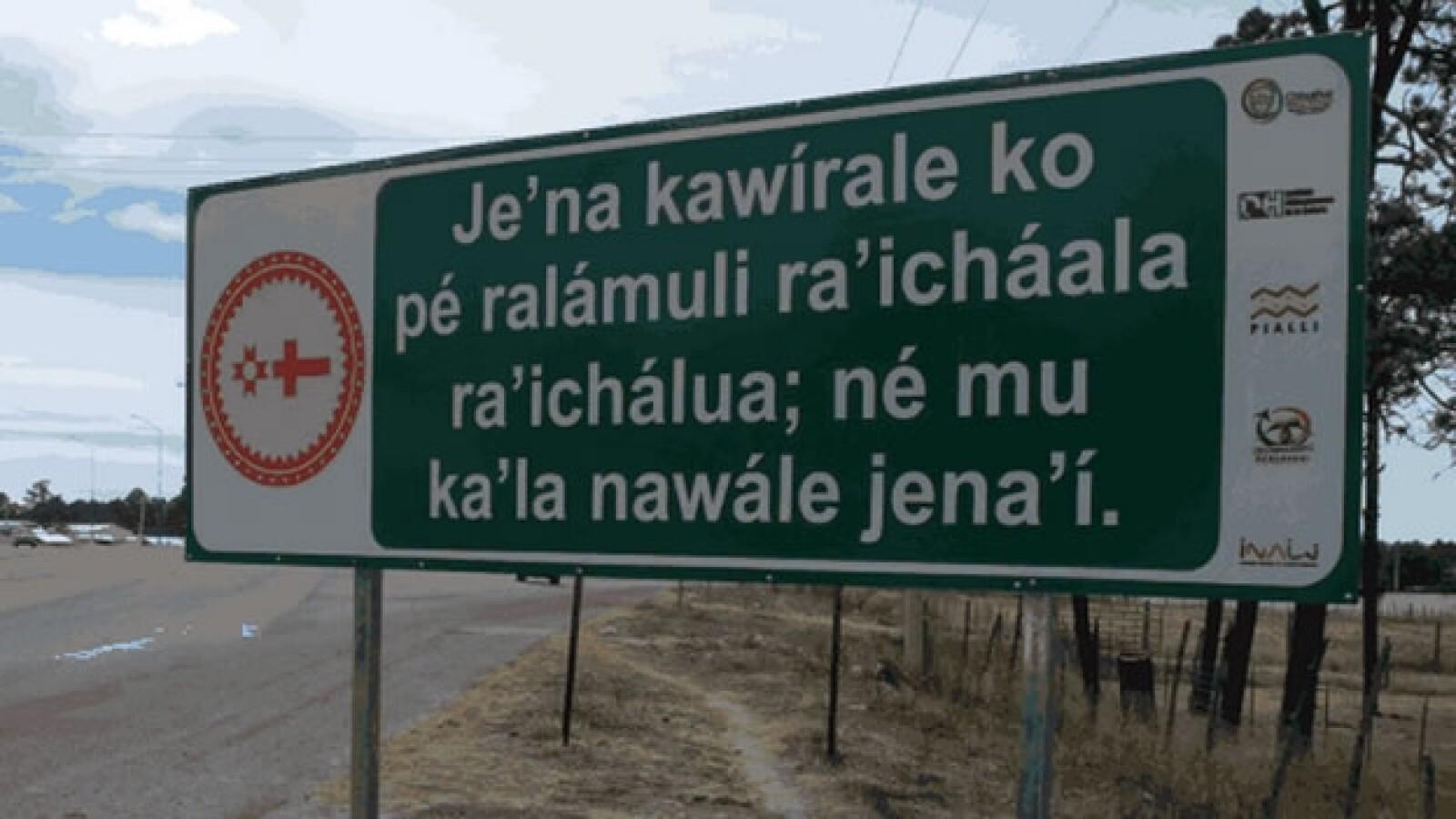 señaletica en lengua tarahumara