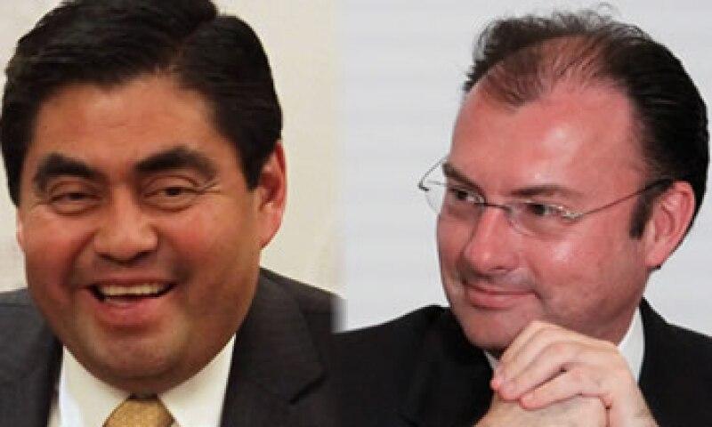 Miguel Barbosa (izq) y Luis Videgaray (der) se reunieron este jueves en Palacio Nacional. (Foto: Especial)