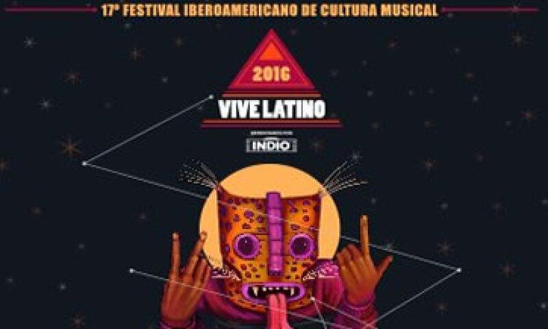El póster oficial del Vive Latino 2016, a celebrarse del 23 al 24 de abril en la Ciudad de México. (Foto: Twitter/@vivelatino )