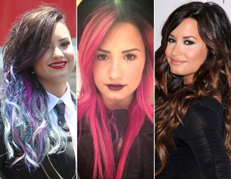 Demi y su pelo multicolor a través de los meses.