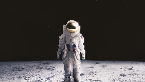 Astronaut standing on the moon surface