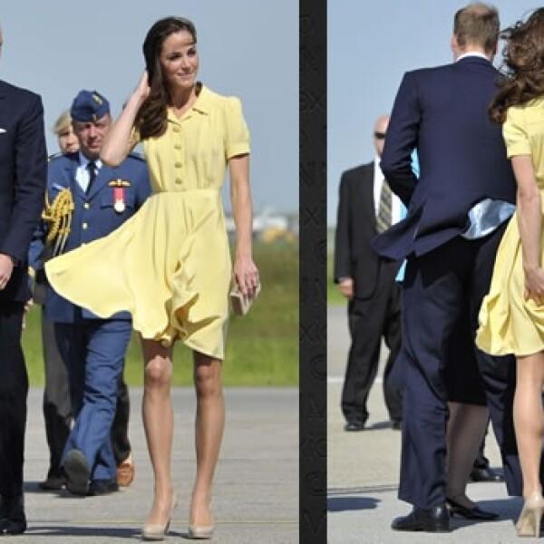 Catalina sufrió contra el viento del poniente canadiense para mantener su falda en su lugar