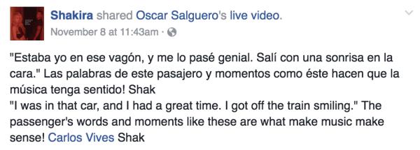 Shakira y Carlos Vives mandan mensaje