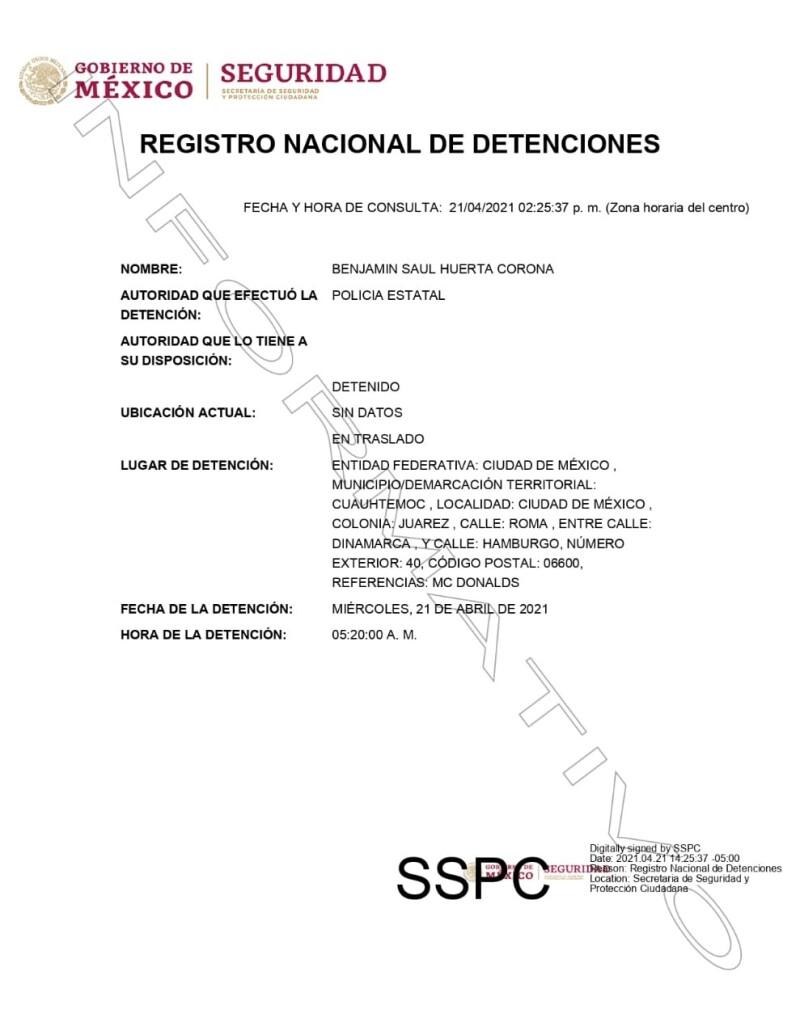 Ficha de detención del diputado de Morena, Benjamín Huerta