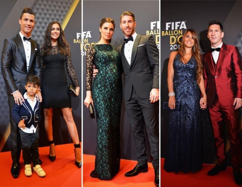 A la gala acudió Cristiano Ronaldo acompañado por su hijo y novia Irina Shayk, Pilar Rubio con Sergio Ramos y Leo Messi con Antonella.
