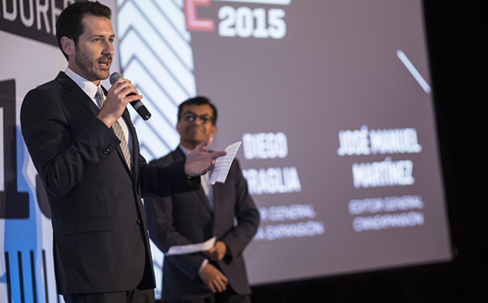 Hay emprendedores que llegaron a las ediciones de 'Las 500' y 'Los 100 Empresarios más Importantes de México', dice Diego Graglia (izq.), editor general de Expansión, en compañía de José Manuel Martínez, editor general de CNNExpansión.