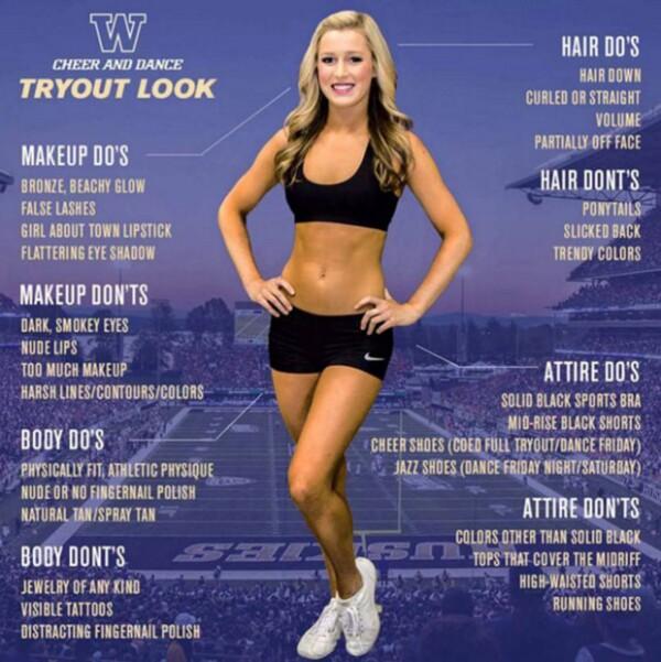 Estos son los requisitos de la University of Washington Cheerleading.