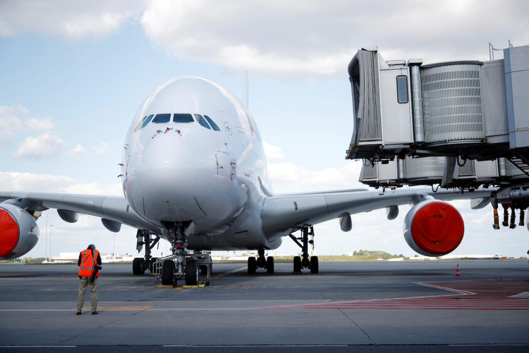Airplanes at Paris Charles de Gaulle airport in Roissy-en-France