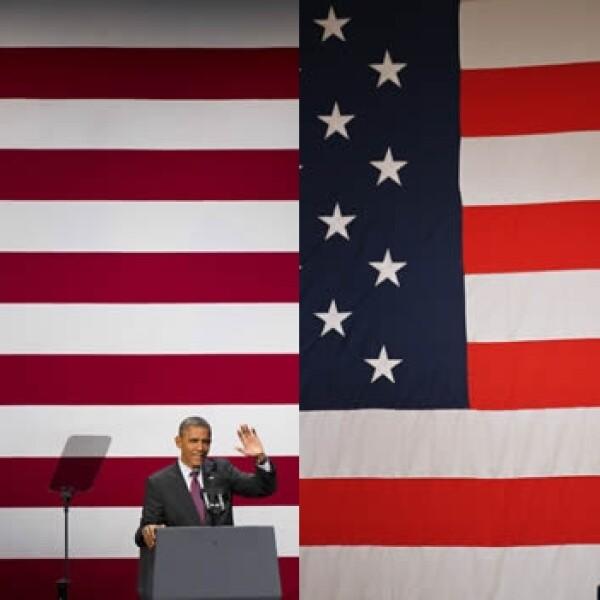 Obama Romney eventos publicos bandera
