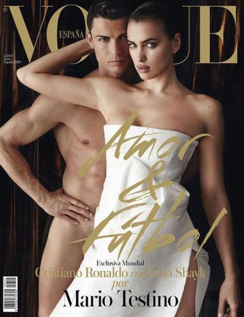 El astro del futbol y la modelo rusa engalanan la cubierta de la versión española de Vogue. Ella viste de novia, mientras que él posa totalmente desnudo.