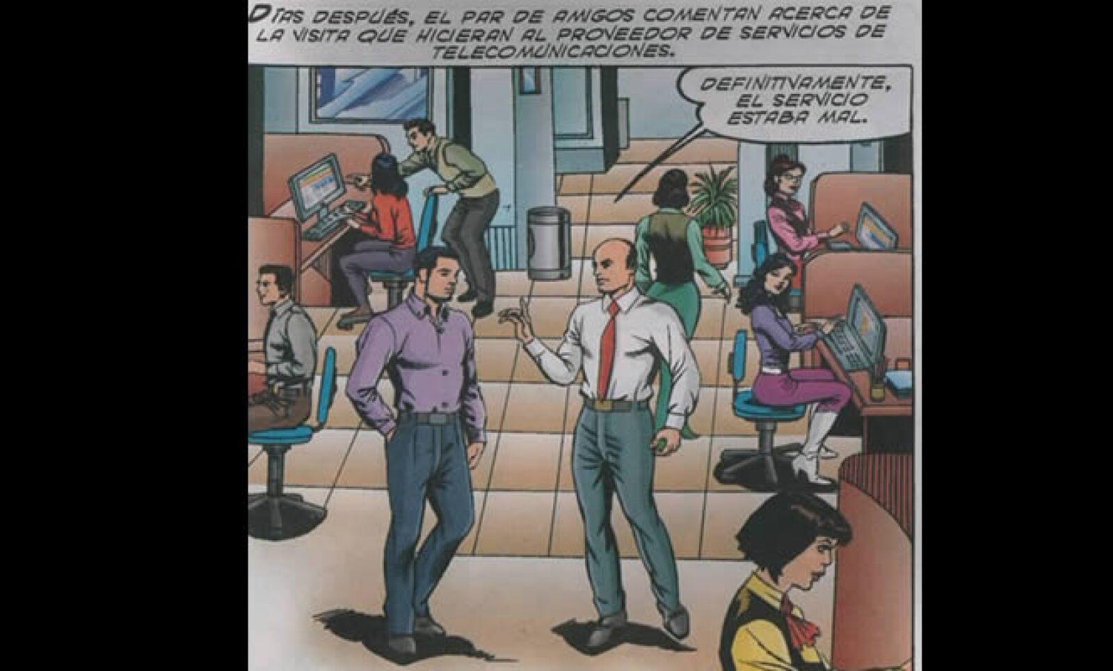 En la historieta se caracterizan a dos funcionarios de la Cofetel: Luis Lucatero (izq) y Manuel McFarland (der).