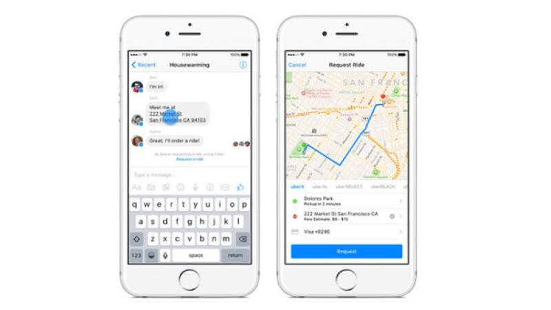 Ahora sin necesidad de instalar la App de Uber, podrás pedir tu transporte desde Facebook Messenger, sin salirte de la aplicación.