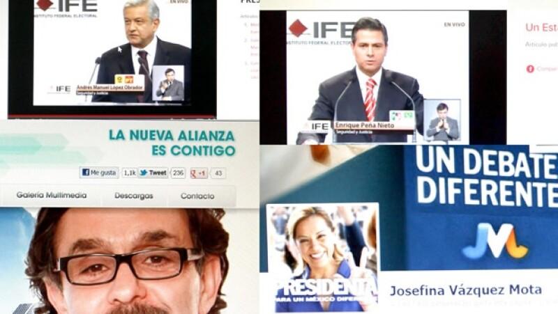 los candidatos en internet durante el debate