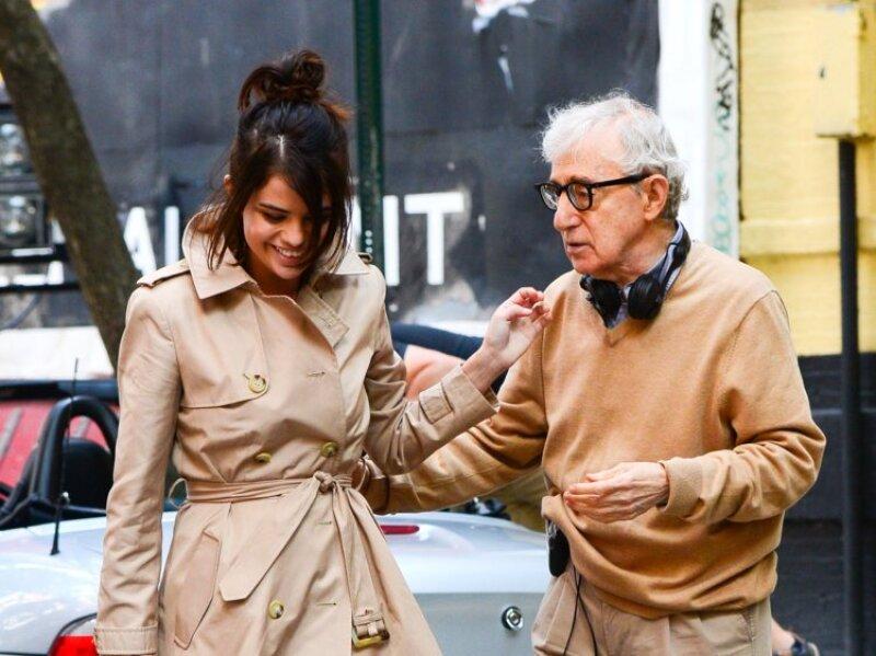 Selena Gómez y Woody Allen en rodaje