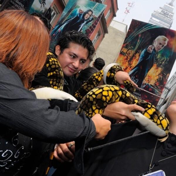 jovenes juegan con una serpiente falsa