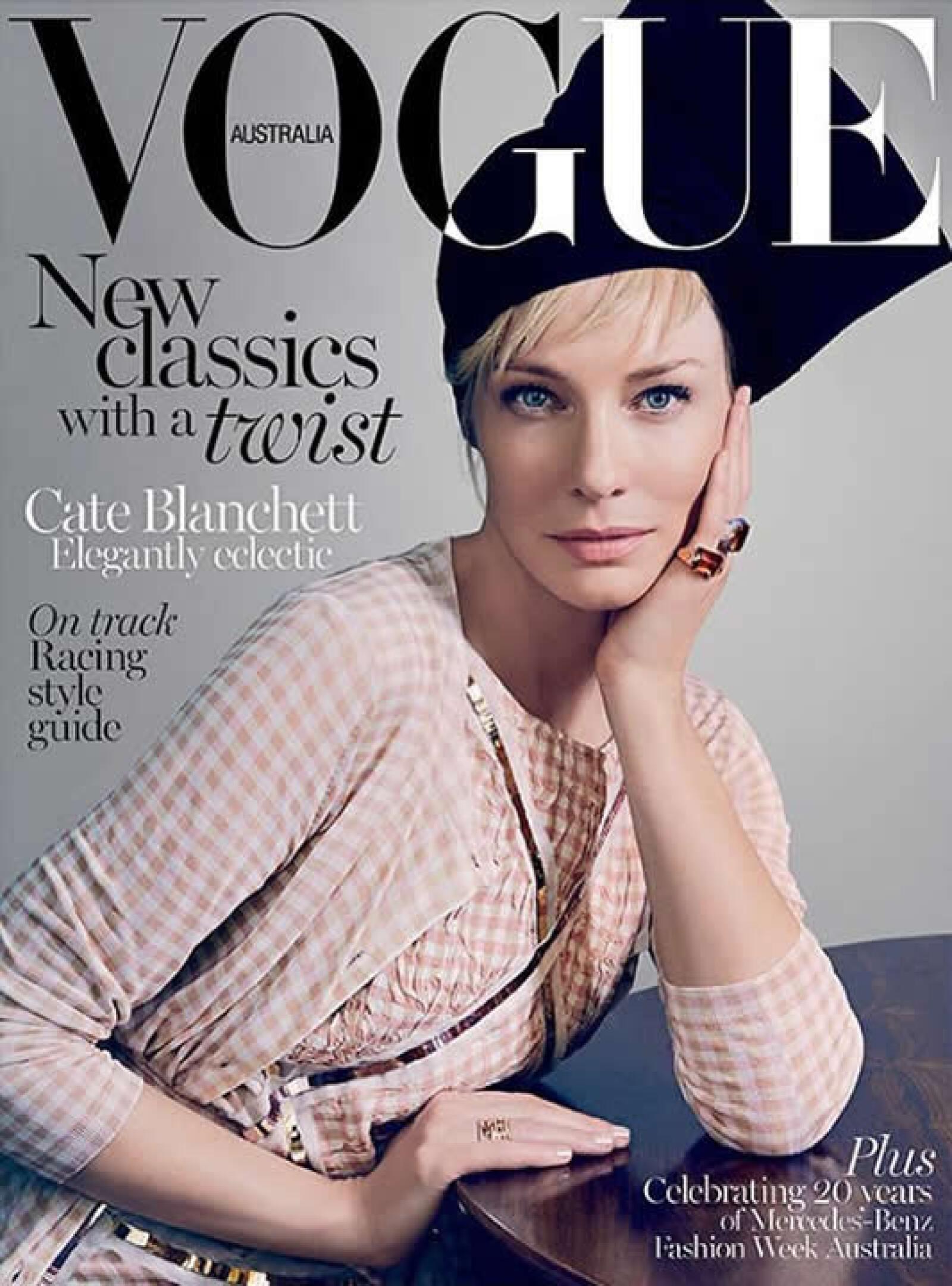 Regresando a los clásicos, Vogue Australia presenta a Cate Blanchett por Emma Smmerton. En la portada aparece usando Bottega Veneta, Marni y Alexander McQueen.